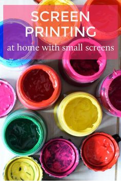 Getting ready for some Christmas printing with some small screens. Easy instructions here for using embroidery hoop to screen print. No nasty chemicals. Screen Printing Equipment, Screen Printing Shirts, Fabric Painting, Printing On Fabric, Diy Printing, Printing Process, Printmaking, Screens, Screenprinting