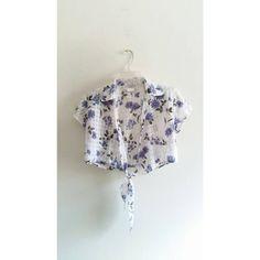 Vintage D.B.Y. Plaid Floral Print White Blue Collared Tie Up Crop Top Shirt Blouse Sz 7 Medium