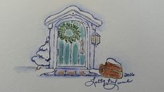 My Art Impressions Watercolor Stamping - Winter Door created by Letty Lucero.