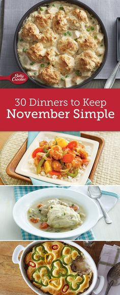 Make dinner one of your easiest to-dos in November with Betty's menu for the month. Packed with every recipe you need, this menu is guaranteed to make dinner extra delicious all month long! Slow Cooker Recipes, Crockpot Recipes, Chicken Recipes, Cooking Recipes, Ninja Recipes, Skillet Recipes, Fast Recipes, Meatball Recipes, What's Cooking