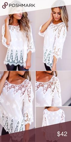 💙NEW IN💙 White Summer Eyelet Loose Casual Top Beautiful too easy to throw on. Slightly sheer. Available in sizes S/M (4-8) or M/L (10-14). If you buy the size S then S/M will be sent, if buy L the M/L will be sent. Runs true to women's sizes. Molly Dolly Tops Blouses