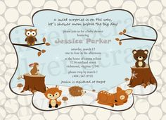 Winter Woodland Forest Animals Custom Baby Shower or Birthday Invitation - Unisex Boy Girl Twins Fall Autumn Snow - 5 Designs (Printable) by silverscraps on Etsy https://www.etsy.com/listing/203291874/winter-woodland-forest-animals-custom