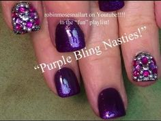 Blinged out purple Nail Art Tutorial for beginners with short nails!! Shar...