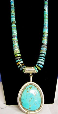 "Turquoise Soul  . . .   Kewa  Turquoise Heishi 22""Necklace with Detachable Turquoise 925 Navajo  Pendant"