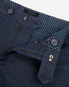 Slim fit herringone trouser - Navy | Trousers | Ted Baker UK