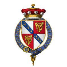 Coat of arms of Sir John Stanley, Lord Lieut of Ireland, titular King of Man, KG