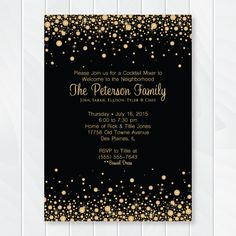 Our Gold and Black Cocktail Invitation is perfect for evening parties under the stars or inside a beautifully decorated home or venue. Customers have used it for engagement parties, welcome to the neighborhood celebrations, holiday events, and 30th, 40th, and 50th surprise parties.