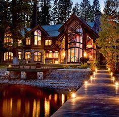 Luxury cabin - Perfect look! Dream Home Design, Modern House Design, My Dream Home, Luxury Cabin, Luxury Homes Dream Houses, Dream Mansion, Dream House Exterior, Big Houses Exterior, Log Homes Exterior