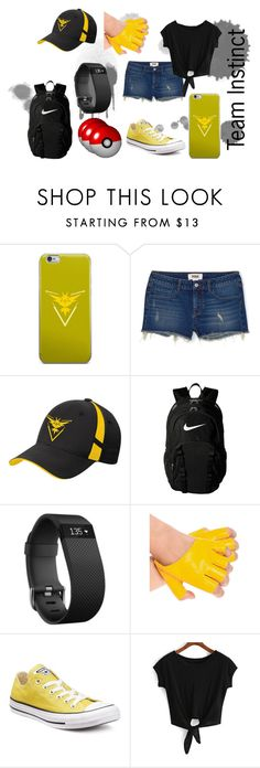 """""""Team Instinct Inspired - Pokemon Go!"""" by fandomzzforlyfe ❤ liked on Polyvore featuring Valor, NIKE, Fitbit, Converse and PokemonGO"""