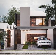 What a beautiful design of this facade, with set of lines and volumes and mix of materials! What do you think? Design Exterior, Facade Design, Architecture Design, Home Building Design, Home Design Plans, House Front Design, Small House Design, Luxury Home Accessories, Modern Villa Design