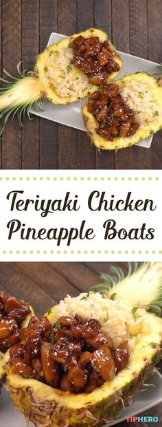 Teriyaki Chicken Pineapple Boats - - Missing the tropical tastes of summer already? Tired of the same old chicken and rice? We've got a solution for both problems: Teriyaki Chicken Pineapple Boats! Healthy Recipes, Asian Recipes, Cooking Recipes, Fun Recipes, Budget Cooking, Cheap Recipes, Recipes For Dinner, Chicken Dishes For Dinner, Food Budget