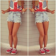 I would wear this with my DIY American flag tank and polka dot blue and white converse! So cute! <3