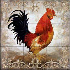 Rooster II by Malenda Trick - Kitchen Backsplash / Bathroom wall Tile Mural - Amazon.com