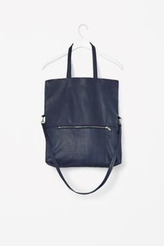 Folded leather shopper