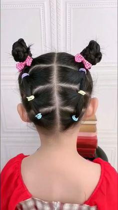 Easy Little Girl Hairstyles, Baby Girl Hairstyles, Braided Hairstyles, Medium Hair Braids, Medium Hair Styles, Long Hair Styles, Toddler Hair Dos, Khloe Hair, Hair Style Vedio