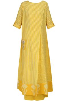 Mustard yellow block printed long tunic available only at Pernia's Pop Up Shop.