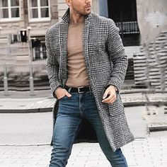 Men Casual Winter Fashion Hounstooth Gentlemen Long Coat Jacket Outwear We can guarantee that the overall style displayed in the photography is accurate, ho Langer Mantel, Trench Coat Men, Men Coat, Winter Fashion Casual, Casual Winter, Winter Outfits, Gentleman Style, Gentleman Fashion, Look Fashion