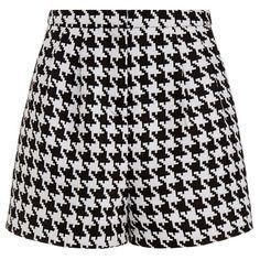 Emma Cook Houndstooth High Waisted Shorts ($110) ❤ liked on Polyvore featuring shorts, emma cook, high-waisted shorts, highwaisted shorts, zipper shorts and highwaist shorts