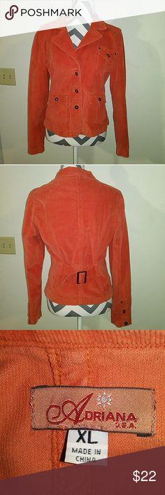 Adrianna XL Corduroy pumpkin spice jacket Pumpkin spice XL Adrianna corduroy jacket with sinch belt. Adrianna Jackets & Coats Blazers