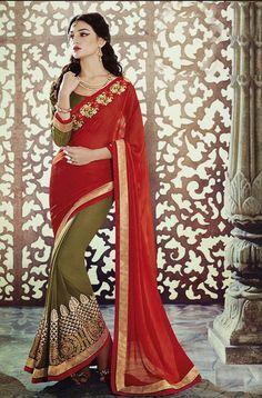 Mehendi Green Red Designer Georgette Saree
