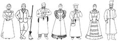 Victorian Servants: First six servants in a house: housemaid nursemaid, cook, male servant, lady's maid or kitchen maid and another male perhaps a full time butler.  From there work became more specialized:steward, full time valet, housekeeper, more lady's maids, governess, parlour maids, laundry maids, scullery maids and from there more male servants. After taxes on male servants became the norm, the more males a home employed, the more socially prestigious it was.