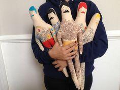 Vintage gran inspiración hecha a mano muñeca de la arte