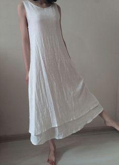 White linen dress maxi dress linen blouse by originalstyleshop, $56.99