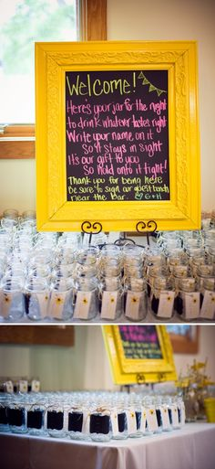 chalkboard mason jar glasses as wedding favors! ....... I am 100% doing this so amazing i love it!!