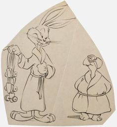"Animation drawing of Bugs Bunny and Cecil Turtle by Hawley Pratt from ""Rabbit Transit"" (Friz Freleng, 1947).  Misce-Looney-ous: Warner Bros. Production Art, Part Two: Drawings"