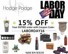 For Labor Day only, get 15% off by using the code above at checkout. My website is www.shophodgepodge.com/rep/bcacheerleading