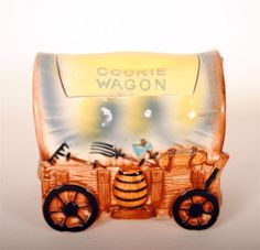 Vintage Fred Roberts Covered Wagon Cookie Jar $145 luckystargallery.com