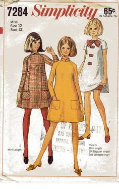 1967 Simplicity 7284 Vintage Sewing Pattern Misses by cositasusa.