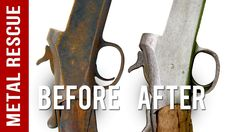 Remove rust from any gun or gun parts in three easy steps! Watch to learn how to de-rust a gun and save it to your own board so you can try it yourself!  **NOTE: Metal Rescue will remove bluing from guns and oxide coatings. If you are unsure if your part is safe for Metal Rescue, please test a small area first before submerging your entire part. How To Clean Rust, How To Remove Rust, Remove Rust From Metal, Reloading Bench, Clever Gadgets, Horseshoe Art, Hunting Guns, Types Of Painting, Cool Tools