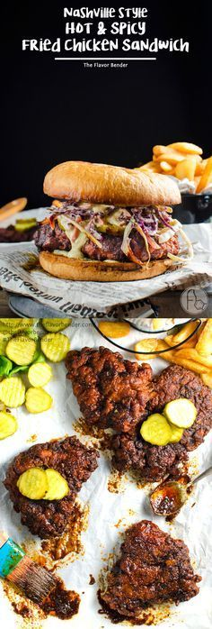 Nashville style Hot and Spicy Fried Chicken Sandwich - Flavored with a…