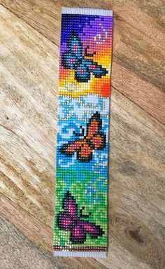 Briljante vlinders weefgetouw Braded armband up colorful Brilliant Butterflies Loom Braded Bracelet Beading Patterns Free, Seed Bead Patterns, Peyote Patterns, Cross Stitch Patterns, Beading Ideas, Weaving Patterns, Beading Supplies, Loom Bracelet Patterns, Bead Loom Bracelets