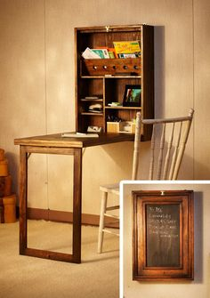 The Murphy Desk is a great collapsible workstation. The space-saving design hangs from the wall and opens to reveal a small storage area behind the door and a table top when folded down. When closed, the Murphy desk transforms into a chalkboard or corkboa Murphy Desk, Murphy Bed Plans, Murphy Table, Murphy Bar, Furniture Plans, Diy Furniture, Apartment Furniture, Murphy Furniture, Apartment Ideas