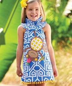 Love this Blue Monkey Dress - Infant, Toddler & Girls on #zulily! #zulilyfinds