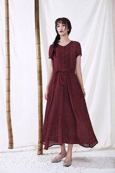 maxi bridesmaid dress, pure linen dress, boho wedding, maxi linen dress in wine, flaterring dress,prom dress, pleated dress