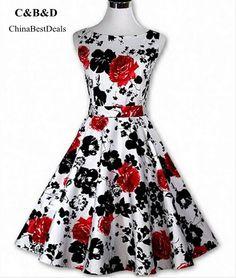 101b7d7ab2 ACEVOG Hepburn Style Vintage Sleeveless Floral Swing Dress