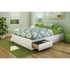 South Shore Full Platform Bed with Underbed Storage & Reviews   Wayfair