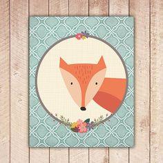Nursery Fox Printable, Teal Blue, Fox, Nursery Decor, Nursery Printables, Wall Art, Instant Download NAP