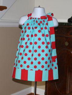girls Easter dresses Pillowcase Dress michael miller dots and stripes aqua blue red polka dot toddler dress by blakeandbailey