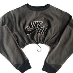 QUEENS | Reworked Nike Air Logo Crop Sweatshirt Charcoal
