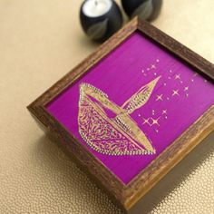Square Festive Cashew Box - A beautifully Diwali themed box with zardozi work along with a sweet surprise hidden inside!
