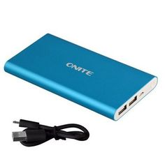 Onite 10000mAh External Battery Packs Power Bank for iPhone 7 6 6S, Plus, 5 5S, Samsung Galaxy S8, S7 S6 S5, Edge, Note 5 4 3, LG G5 G4 G3, Pro, Moto Z Adroid, Google Pixel XL, Blue. 2x USB Outputs: 5V 2A(Max). On/Off Button to stop/resume charging, 4 LED indicators displaying battery percentage and charging status. Grade A Li-ion polymer cell and premium microchips create high-quality portable charger. 10000mAh high power capacity, charging for iPhone 6 3.5 times or Samsung S6 2.5...