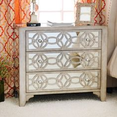 Libby Silver Mirrored 3-Drawer Chest | Kirklands, temporary sale... for mesa master nightstands