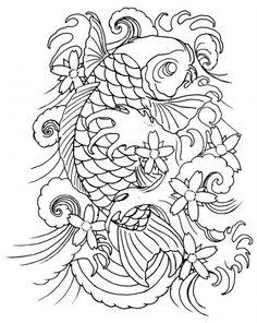 tatouage ligne | Alfa img - Showing > Koi Tattoo Line Drawing