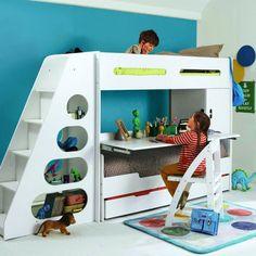 Chambre merveilleux d cor avec lit superpos et un bureau d 39 tude amusant - Lit superpose avec bureau integre ...