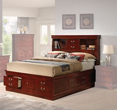 traditional cherry captains bed with storage