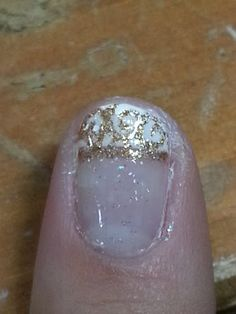 White and Gold Swirl French Tip Wedding Nails